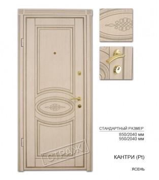 """Входные двери """"Страж"""" Модель Кантри(Pt), цвет ясень"""