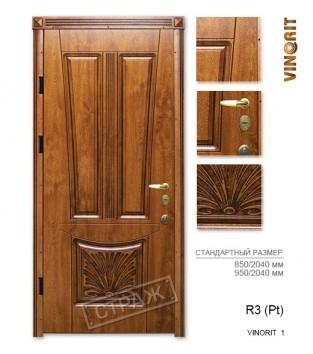 """Входные двери """"Страж"""" PATINA. Модель R3 (Pt) vinorit 1."""