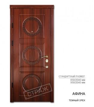 """Входные двери """"Страж"""" PRESTIGE. Модель Афина, цвет темный орех."""