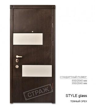 """Входные двери """"Страж"""" PRESTIGE. Модель STYLE glass. цвет темный орех."""