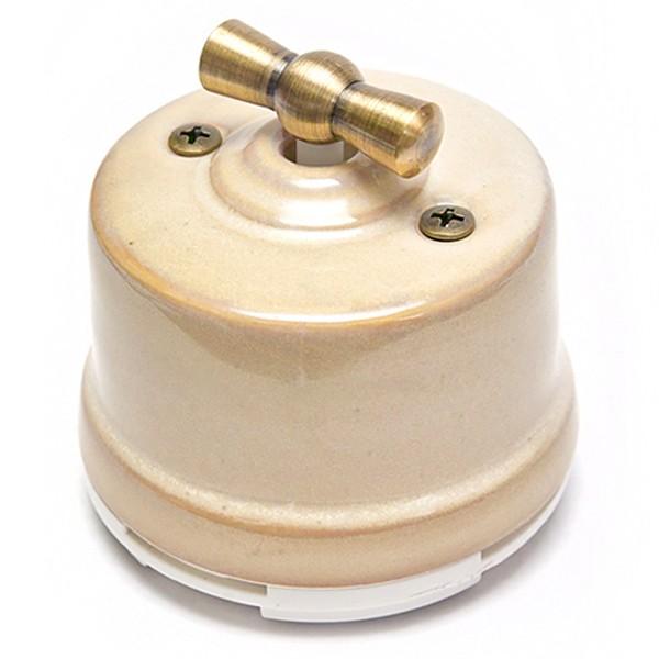 Выключатель фарфоровый поворотный ретро проходной для наружного монтажа - ретро электрика, винтаж