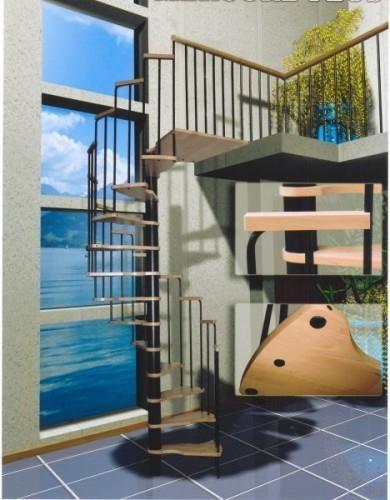Винтовая лестница Mars, чёрный цвет металл. стоек и столба, ступени бук массив лакированные, высота 3м, диам.160см