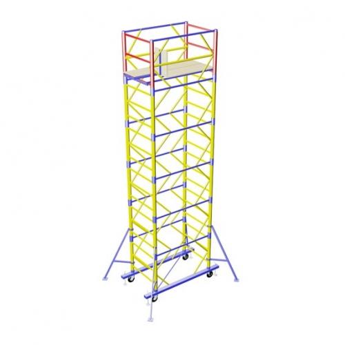 Вышка-тура с рабочей площадкой 1,2 х 2,0 м Общая высота конструкции 7,5 м Высота до настила 6,6 м
