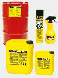 Высоколегированная смазка для нарезания резьбы REMS Специаль на основе минеральных масел, смывается водой.