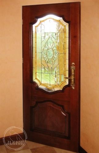 Витражи в стеклопакете во входных дверях 1