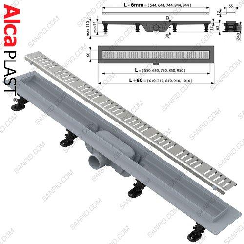 Фото  1 Водоотводящий желоб AlcaPlast Simple APZ10-550M 1794130