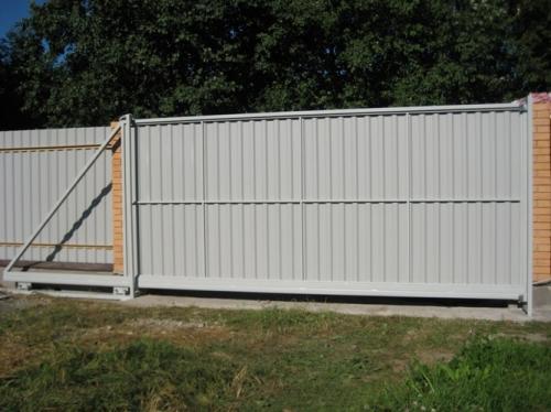 Ворота металлические откатные. Доставка, установка, рассрочка до 12 месяцев.