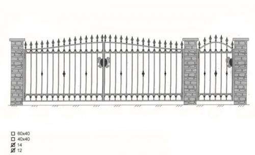 Ворота с калиткой и металлическими столбами 3,5 х 1,5 м Покраска - цвет черный, hammerton