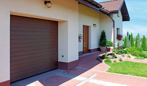 Ворота секционные гаражные Wisniowski, размер 3250х2250 мм, цвет коричневый