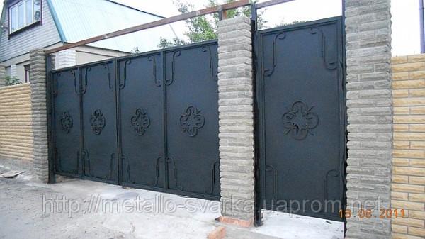 Ворота сварные металлические с коваными елементами. Любые виды сварочных работ.