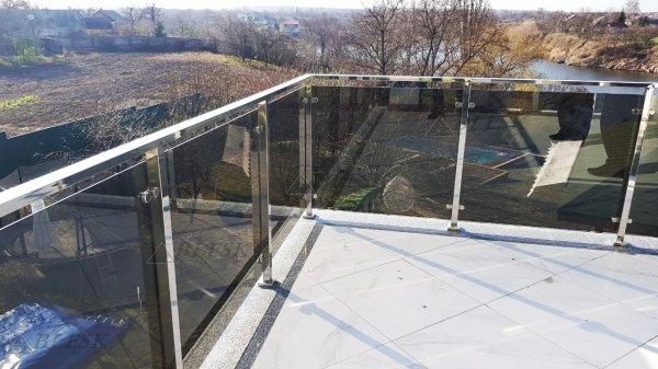 Фото 4 Перила для балкона з поручнем з нержавіючої сталі і скла 339322