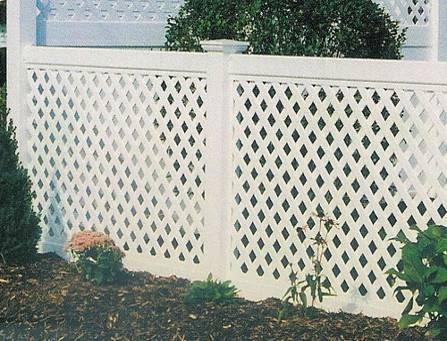 Забор пластиковый. Секция из решетки в сборе. Высота-1,15м. Длина-2,44м Секция столб.