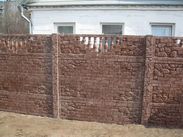 Забор по технологии Гранилит коричневый мрамор