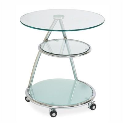 Журнальный столик Чинзано стеклянный на колесах