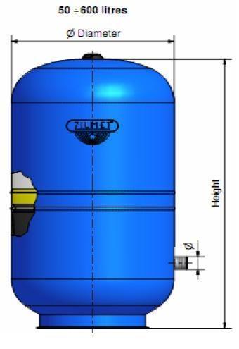 Zilmet Hydro-Prо 150 Фиксированная мембрана для пищевого применения; Максимальное рабочее давление — 10 ba
